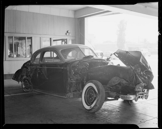 1940 Pontiac sedan and scenes of accident on Rosecrans Avenue, Southern California, 1940
