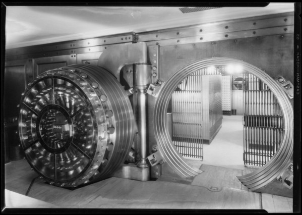 Pacific Southwest Bank safety deposit vaults, Southern California, 1927