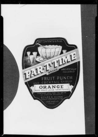 Label for orange juice, Southern California, 1935