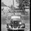 Intersection of South La Salle Avenue and West Adams Boulevard and wrecked 1934 Plymouth coach, Los Angeles, CA, 1936