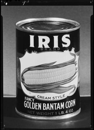 Cans of Iris Corn, Southern California, 1940