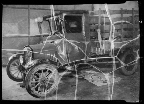 Wrecked Ford stake body truck, Hammond Lumber Co., assured, Southern California, 1935