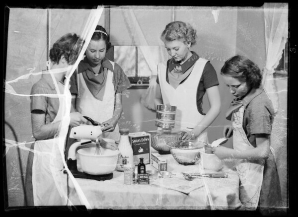 Campfire girls in the kitchen, Southern California, 1936