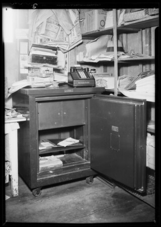 Burglarized safe in market, Martin's Market, assured, Southern California, 1935
