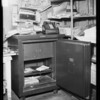 Burglarized safe in market, Martin's Market, assured, Southern California, 1935
