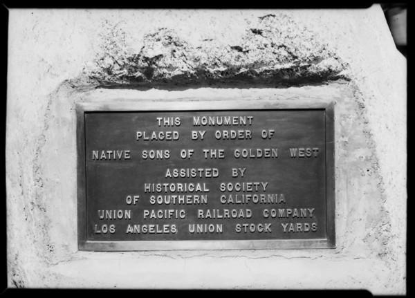 Dedication of union stockyards monument, Southern California, 1926