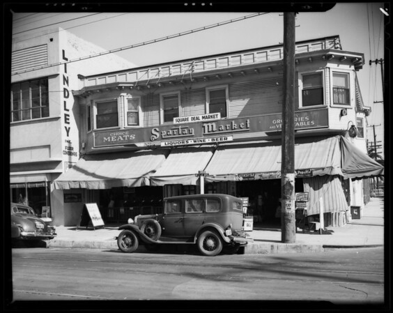 Front of market, 1436 Maple Avenue, Los Angeles, CA, 1940
