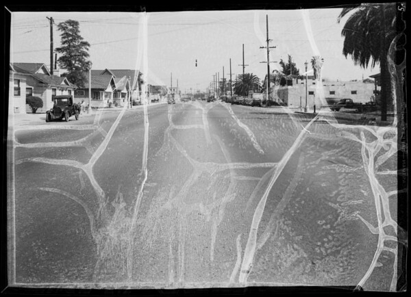 Intersection of East Washington Boulevard and Naomi Avenue, Los Angeles, CA, 1936