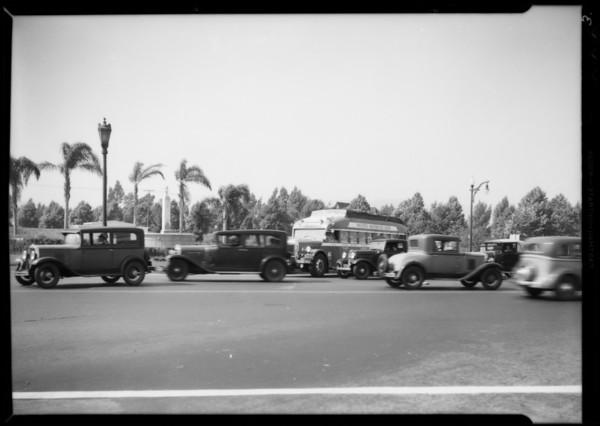 Greyhound bus in Beverly Hills, CA, 1935