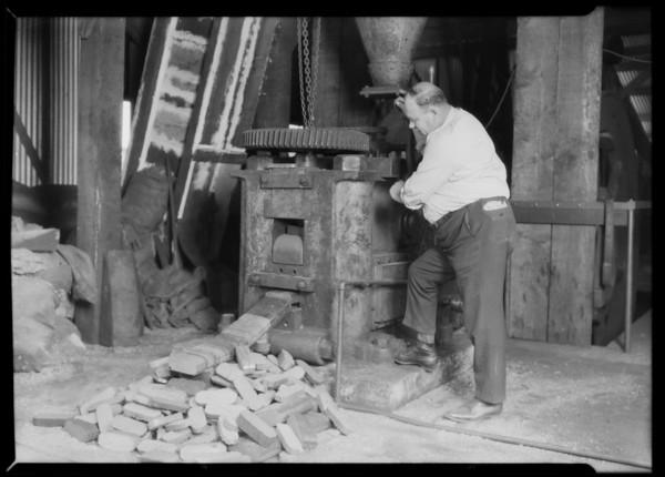 Sawdust briquets at Ferukolts Machine Company, Southern California, 1926