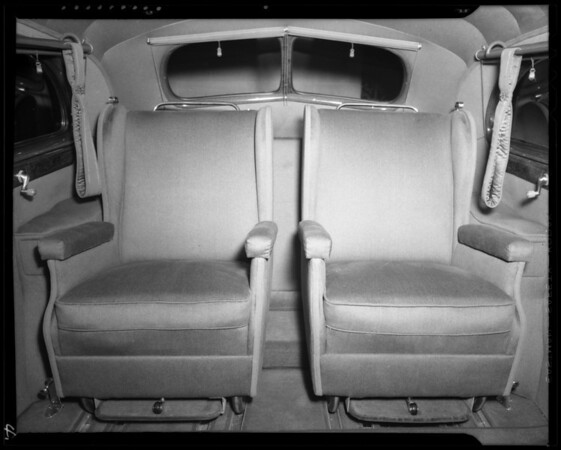 Interior of invalid's car, Southern California, 1940