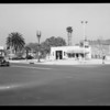 """Metal """"76"""" signs & station at South Figueroa Street and West Adams Boulevard, Los Angeles, CA, 1935"""