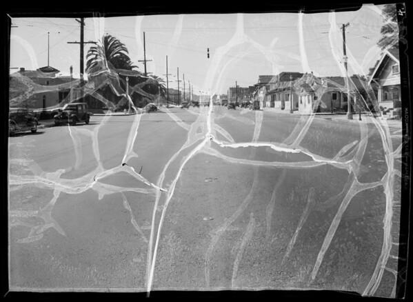 Intersection of East Washington Boulevard and Naomi Avenue, Los Angeles, CA, 1936