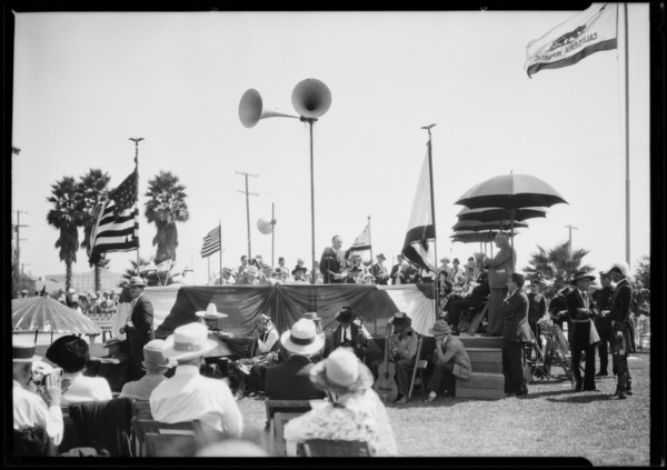 Dedication of union stockyards monument, Southern California, 1926