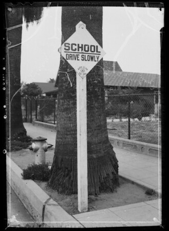 School sign, Southern California, 1935