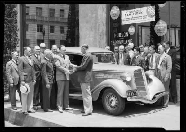 Mr. Grove presenting Terraplane and Mr. Hill, Southern California, 1935