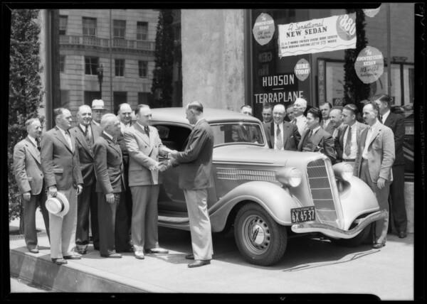 Mr. Grove presenting Terraplane and Mr. Hill, Southern California, 1935