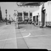 Sidewalk in front of Texaco station, Wilshire Boulevard and South New Hampshire Avenue, Los Angeles, CA, 1940