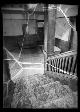 3rd floor steps at Westmoore Hotel, Mr. Shafer owner & assured, 1004 West 7th Street, Los Angeles, CA, 1936