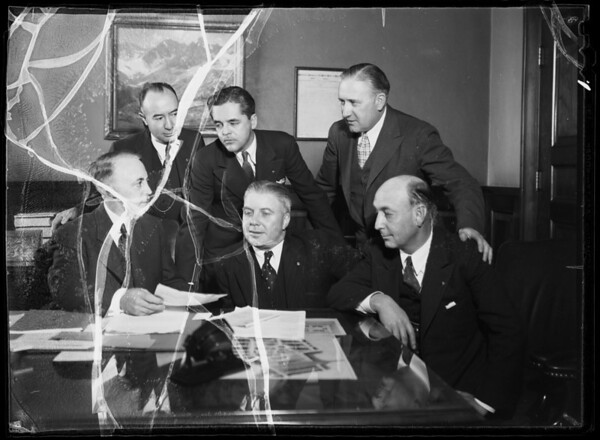 Group of commissioners with Mr. Foley in mayor's office, Los Angeles, CA, 1935