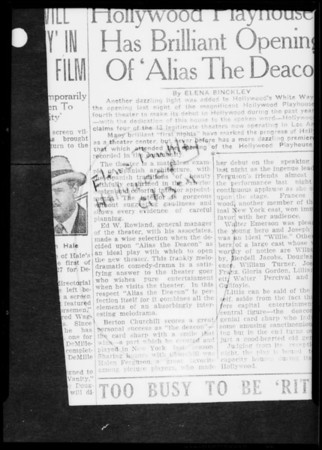 News clippings show of Hollywood Playhouse, Southern California, 1927