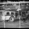 Wrecked Pioneer bus, Southern California, 1935