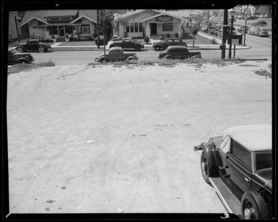 Parking lot views at Selma Avenue and North El Centro Avenue, Los Angeles, CA, 1940