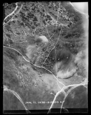 Quarry blast in Santa Monica Mountains, Southern California, 1936
