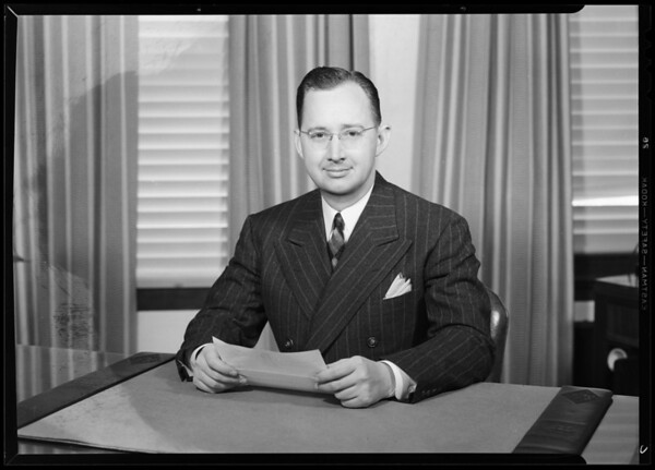 Portrait of Mr. Kyler, Commercial Standard Insurance Company, 1031 Broadway, Los Angeles, CA, 1940
