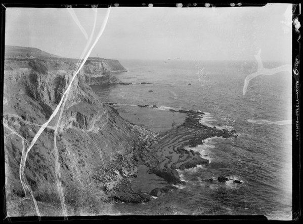 Rolling hills and shoreline, Southern California, 1935