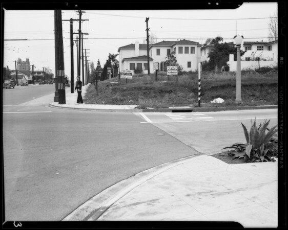 """West Olympic Boulevard and South Lucerne Boulevard, wrecked Ford """"A"""" roadster, Los Angeles, CA, 1940"""