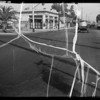 Intersection and skid marks at South Normandie Avenue and Exposition Boulevard, Los Angeles, CA, 1935