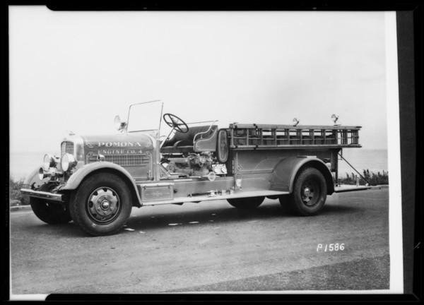 Pomona fire truck and Van de Kamp's truck, Southern California, 1935