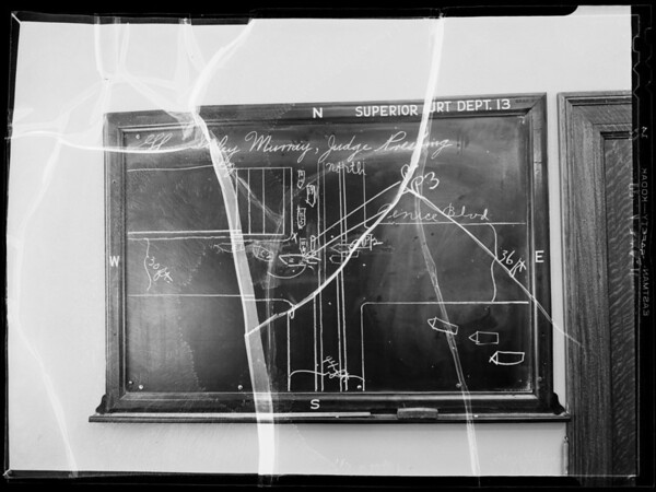Blackboard in Superior Court, department 13, Erman vs Goodrum, Southern California, 1935
