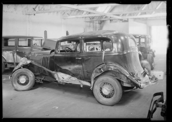 Wrecked Pontiac sedan, Southern California, 1935