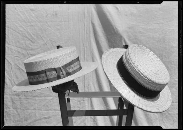 Men's straw hats, Southern California, 1927