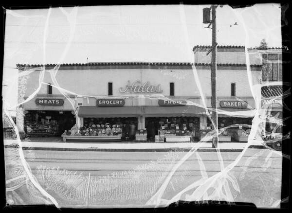 Sidewalk in front of Hala's Market, 4350 West Adams Boulevard, Los Angeles, CA, 1936
