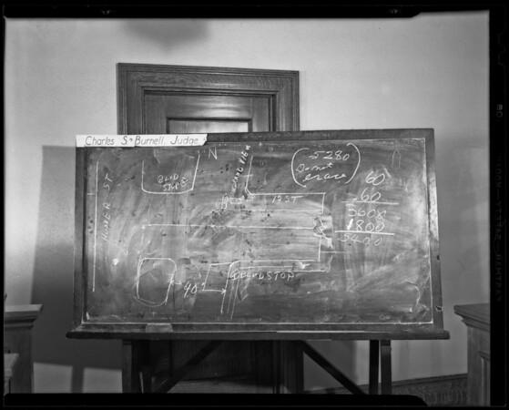 Blackboard of Dunlap vs. Maloney, Los Angeles, CA, 1940