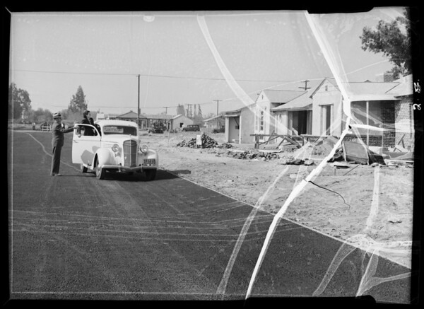 Paving job, Riverside Drive in valley, Southern California, 1936
