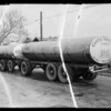 Tank truck & trailer wreck, Captiol Tank Lines owner & assured, Southern California, 1935