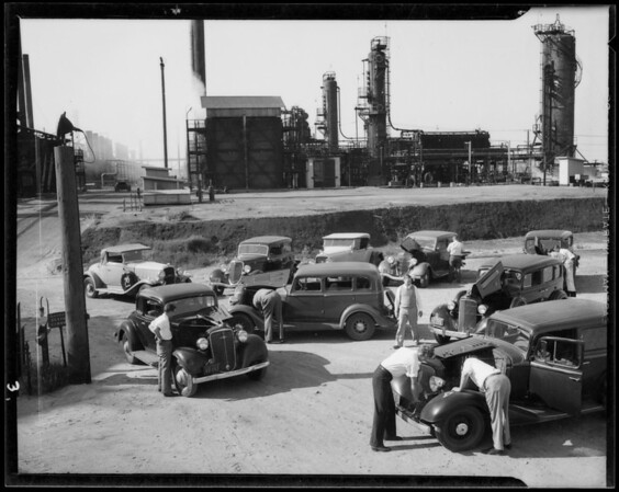 Testing cars for motor knocks, Southern California, 1935