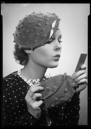 Christmas articles & model showing hats, blouse, etc., Southern California, 1935