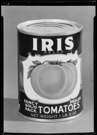 Iris cans, Southern California, 1940