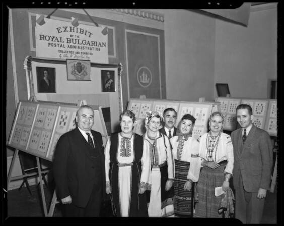 Bulgaria stamp booth and people, Los Angeles, CA, 1940