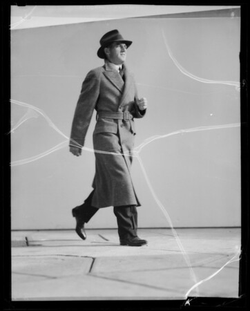 Action in overcoats, Southern California, 1935