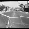 Skid marks on 8th Street and Oldsmobile, Southern California, 1936