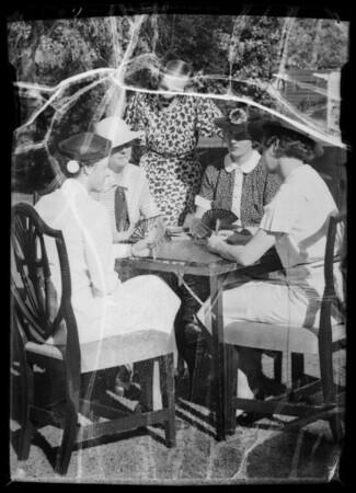 Ladies playing bridge at Cronklite residence, Pasadena, CA, 1936