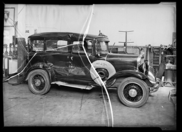 Wrecked Dodge sedan, owned by Mr. Kilban, Southern California, 1936