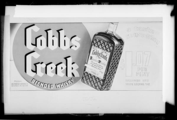 Cobbs Creek Whiskey for lantern slides, Southern California, 1935