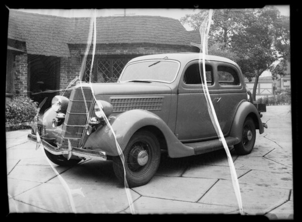 Ford showing dent in fender, Southern California, 1935